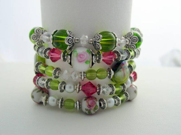 Stackable Swarovski Bracelets, Crystal Stackable Pearl, Lampwork Bead, Multiple Stackable Bracelets, Watermelon