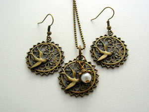Hunger Games Mockingjay Filigree Antique Bronze Earrings & Necklace Set Last One!