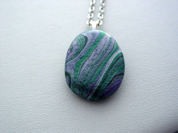 River Rock Jewelry, Metallic Purple Wearable Fluid Art Necklace, Original Alaskan Rock Organic Jewelry, Dirty Pour Necklace, Nature Jewelry (mrr1)