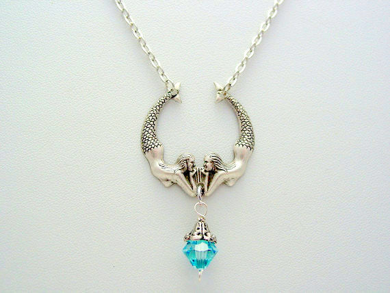 Mystical Twin Mermaids ~ Silver Oxidized Finish with Swarovski Aquamarine Crystal Necklace