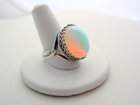 Opalite Rainbow Colors Crown Style Open Twist Band Ring Oxidized Finish
