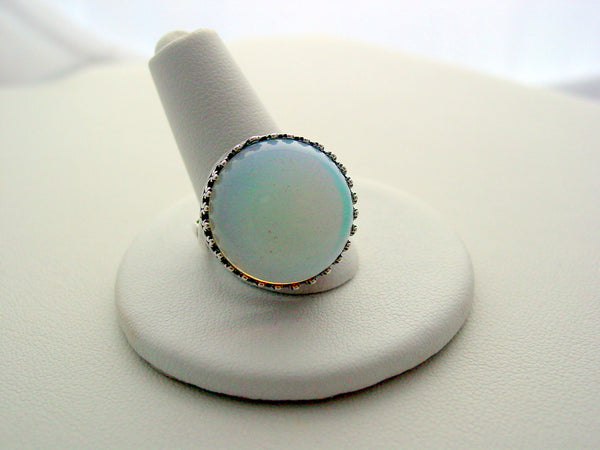 Opalite Ring Rainbow Colors Crown Design Oxidized Finish