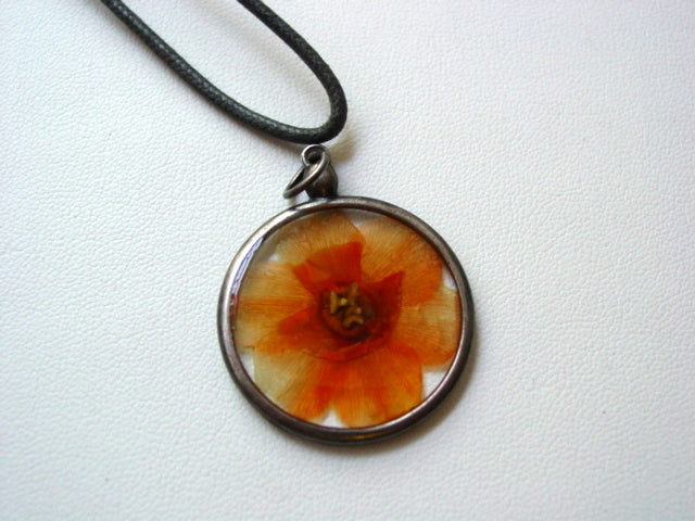 Orange Daffodil Dried Pressed Flower In Resin Platinum Setting Necklace