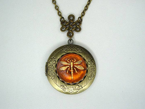 Outlander Locket Dragonfly In Amber Etched Locket With Celtic Knot