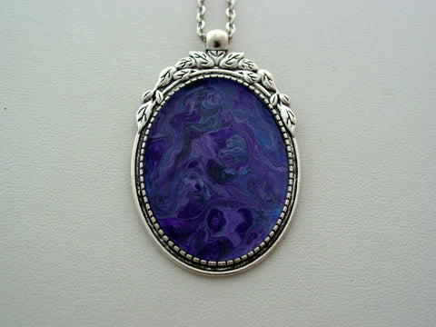 Blue Purple Metallic Fluid Art Necklace Original Wearable Organic Jewelry Dirty Pour Pendant (p4011)