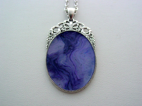 Purple Fluid Art Necklace Original Wearable Organic Jewelry Dirty Pour Pendant (p4013)