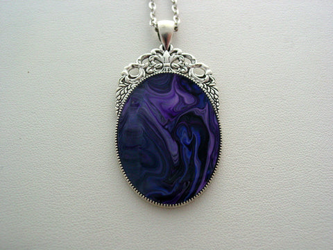 Fluid Art Necklace Purple Original Wearable Organic Jewelry Dirty Pour Pendant (p4016)