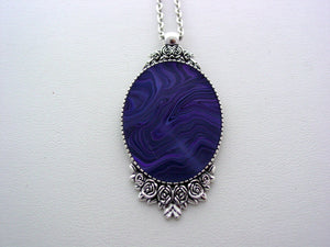 Fluid Art Necklace Purple Original Wearable Organic Jewelry Dirty Pour Necklace With Chain (p4019)