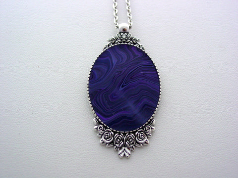 Purple Fluid Art Necklace Original Wearable Organic Jewelry Dirty Pour Necklace With Chain (p4019)