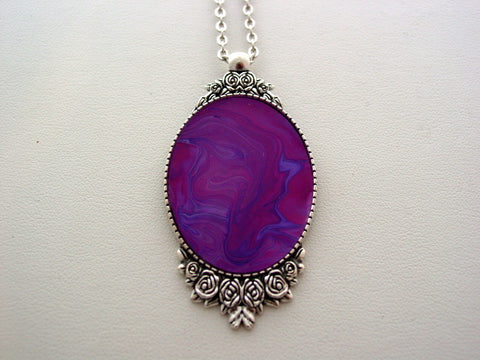 Pink Fluid Art Necklace Original Wearable Organic Jewelry Dirty Pour Necklace With Chain (p4020)