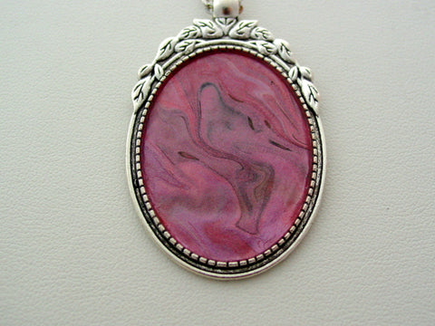 Pink Metallic Fluid Art Necklace Original Wearable Organic Jewelry Dirty Pour Pendant (p407)