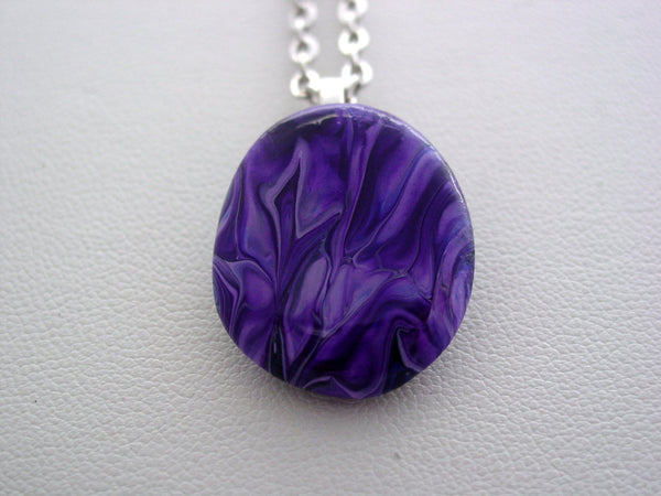 River Rock Jewelry Purple Wearable Fluid Art Necklace Original Alaskan Rock Organic Jewelry Dirty Pour Necklace With Chain (pa1)
