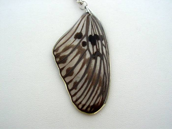 Reversible Real Butterfly Wing Necklace Paper Butterfly Tree Nymph Real Butterfly Wing Necklace Nature Pendant (pap1)