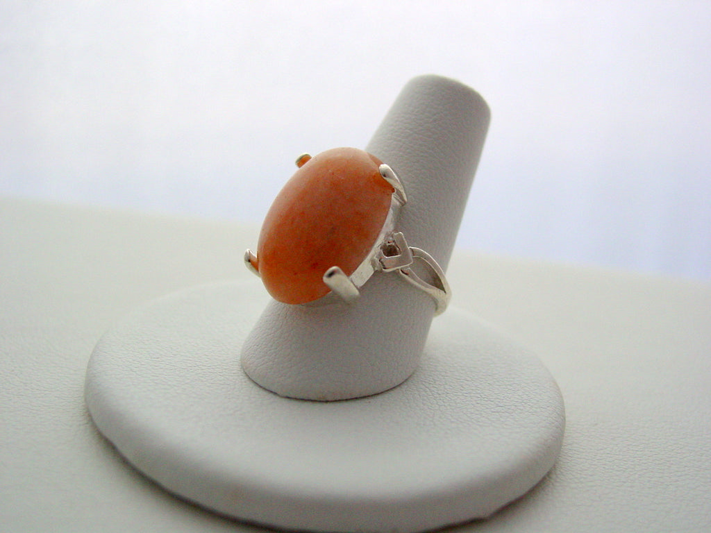 Peach Aventurine Sterling Silver Ring Gemstone Natural Polished Sterling Silver Ring 925 Bezel Ring Sizes 6 thru 8