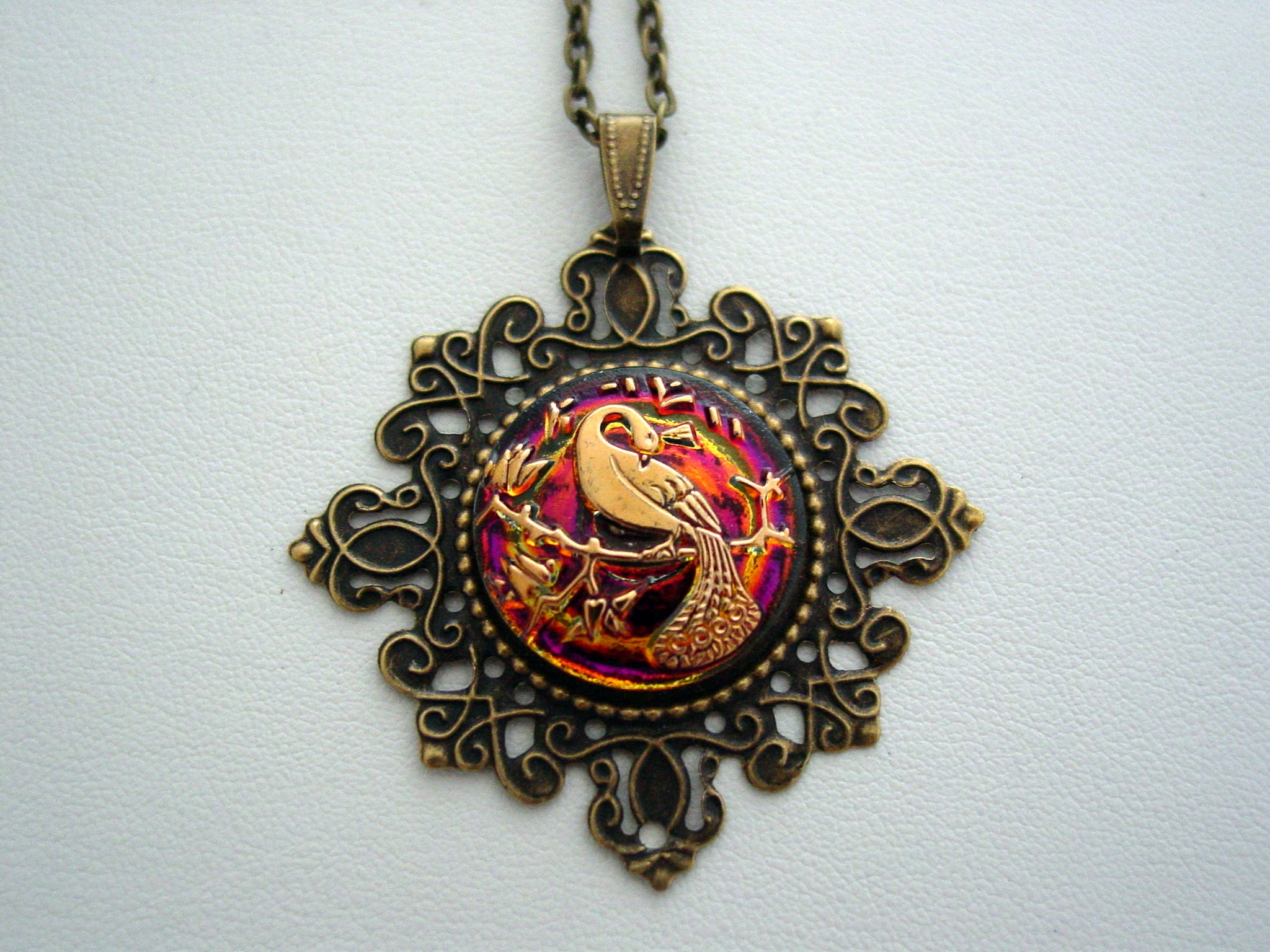 Peacock Necklace, Handmade Glass Peacock Pendant, Filigree Georgian Peafowl Necklace, Antique Bronze Necklace