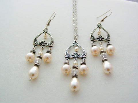 Victorian Traditional Wedding Necklace Earrings Set Off White Pearl Bridal Gift