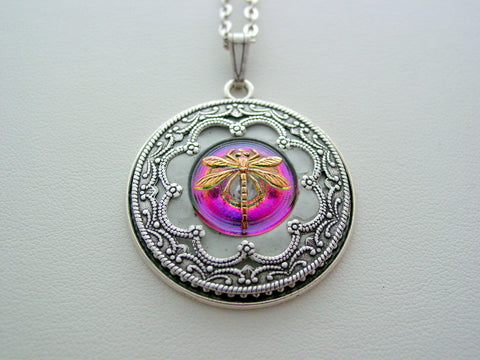 Dragonfly Necklace Victorian Layered Dragonfly Renaissance Purple Pink Vitrail Dragonfly Detailed Filigree Necklace Unique Dragonfly Pendant
