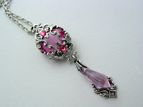 Victorian Rose Pink Necklace Renaissance Layered Crystal Drop Necklace