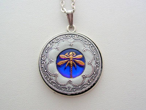 Dragonfly Necklace Victorian Layered Dragonfly Renaissance Purple Blue Vitrail Dragonfly Detailed Filigree Necklace Unique Dragonfly Pendant