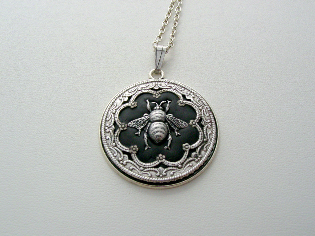 Victorian Queen Bee Layered Oxidized Finish Detailed Filigree Necklace Unique Renaissance Queen Bee Pendant