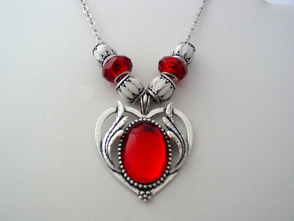 Victorian Ruby Red Necklace Victorian Design Flaming Heart Drop Necklace Lampwork Enamel Beads
