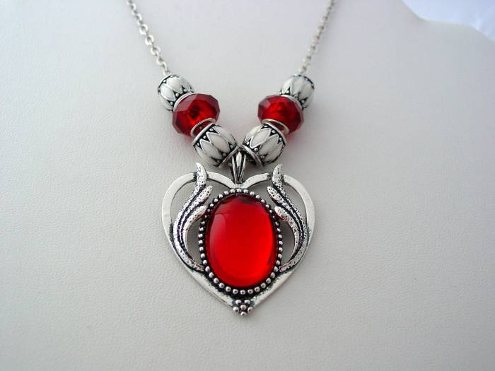 Ruby Red Victorian Style Flaming Heart Drop Necklace Artisan Lampwork Enamel Beads Antique Silver Finish