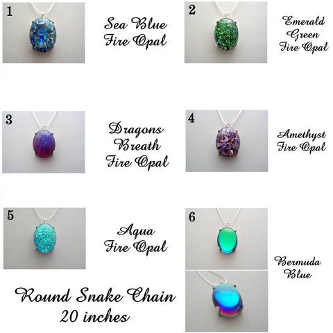 Dragons Breath, Amethyst, Aqua, Sea Blue, Emerald Green Fire Opal, Bermuda Blue Sterling Silver Round Snake Chain Necklace Sterling Silver Fire Opal Necklace, Your Choice