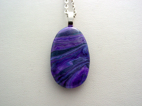 River Rock Jewelry Purple Wearable Fluid Art Necklace Original Alaskan Rock Organic Jewelry Dirty Pour Necklace With Chain (rr17)