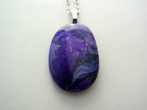 River Rock Jewelry Purple Metallic Wearable Fluid Art Necklace Original Alaskan Rock Organic Jewelry Dirty Pour Necklace With Chain (rr1m)