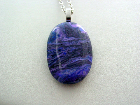 River Rock Jewelry Purple Metallic Wearable Fluid Art Necklace Original Alaskan Rock Organic Jewelry Dirty Pour Necklace With Chain (rr2m)
