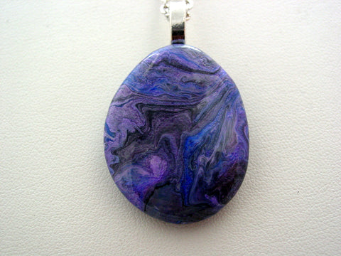 River Rock Jewelry Purple Metallic Wearable Fluid Art Necklace Original Alaskan Rock Organic Jewelry Dirty Pour Necklace With Chain (rr3m)