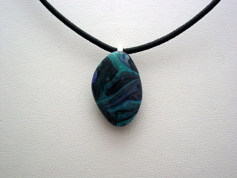 River Rock Jewelry Wearable Fluid Art Necklace Original Alaskan Rock Organic Jewelry Dirty Pour Necklace With Chain (RR8)