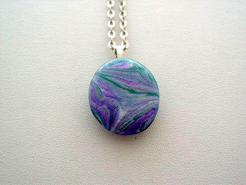 River Rock Jewelry Purple Metallic Teal Wearable Fluid Art Necklace Original Alaskan Rock Organic Jewelry Dirty Pour Necklace With Chain (rra13)