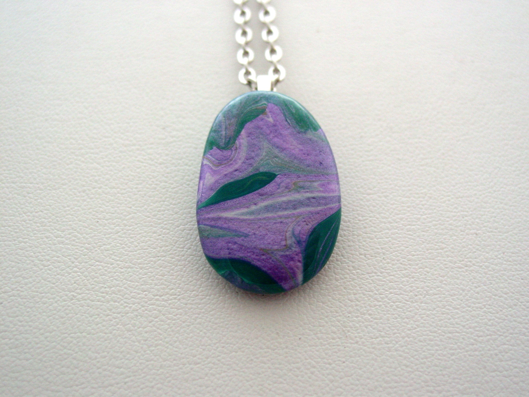 River Rock Jewelry Purple Metallic Teal Wearable Fluid Art Necklace Original Alaskan Rock Organic Jewelry Dirty Pour Necklace With Chain (rra14)