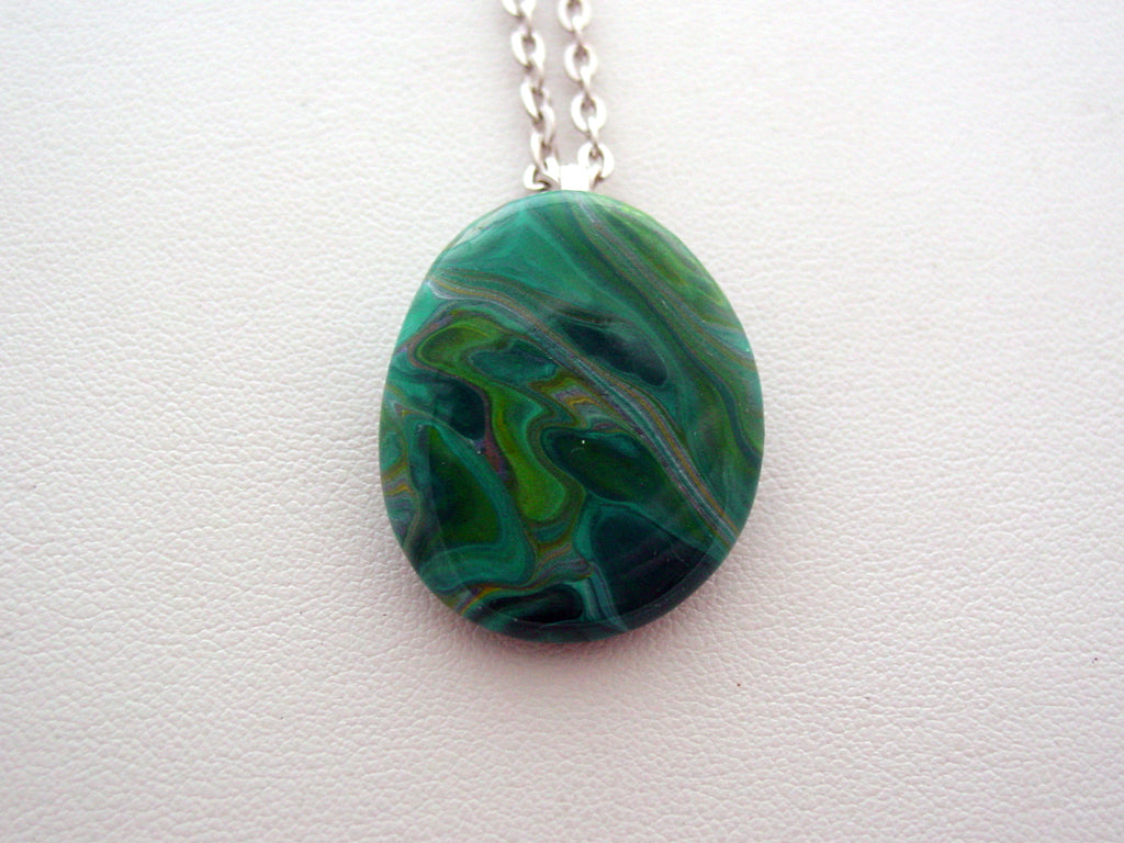 River Rock Jewelry Teal Wearable Fluid Art Necklace Original Alaskan Rock Organic Jewelry Dirty Pour Necklace With Chain (rra4)