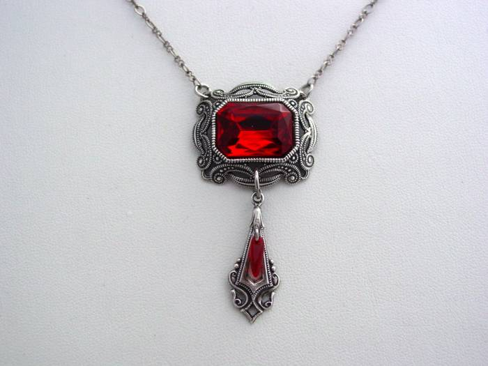 Victorian Ruby Red Necklace Oxidized Octagon Drop Necklace Split Chain