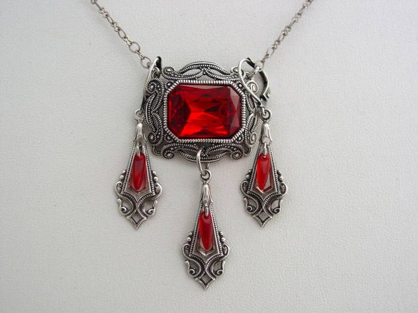 Victorian Ruby Red Necklace Oxidized Octagon Drop Necklace Split Chain Matching Earrings