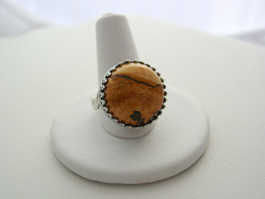 Sandy Jasper Gemstone Ring Crown Design Ring Oxidized Finish