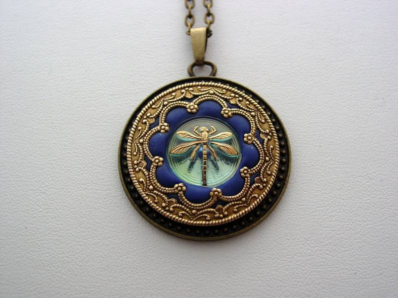 Dragonfly Necklace Victorian Layered Dragonfly Renaissance Sapphire Blue Dragonfly Antique Bronze Detailed Filigree Necklace Unique Dragonfly Pendant