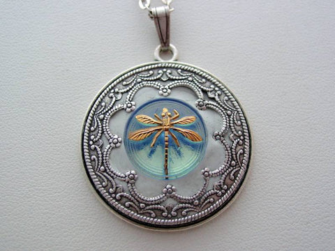 Dragonfly Necklace Victorian Layered Dragonfly Renaissance Sapphire Blue Dragonfly Detailed Filigree Necklace Unique Dragonfly Pendant
