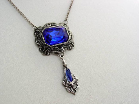 Victorian Oxidized Sapphire Blue Finish Octagon Drop Necklace Split Chain