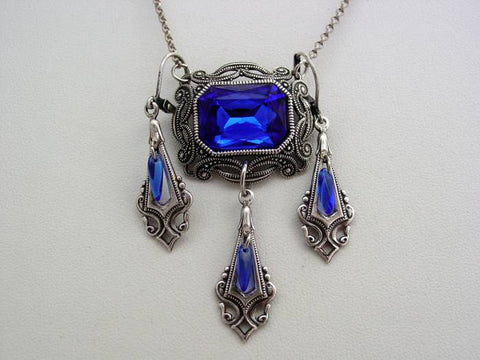Victorian Sapphire Necklace Oxidized Octagon Drop Necklace Split Chain Matching Earrings