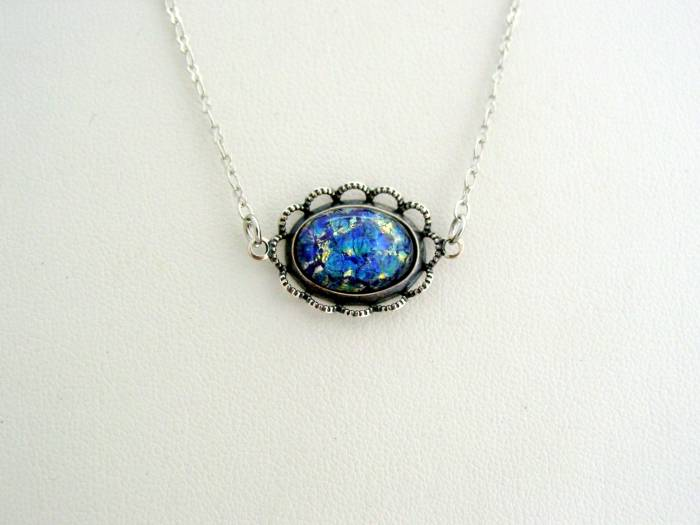 Victorian Fire Opal Necklace, Scalloped Lace Sea Blue Antique Silver Finish Pendant