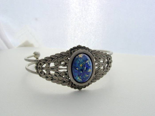 Fire Opal, Georgian Cuff Bracelet, Sea Blue Fire Opal, Antique Silver Platinum Finish