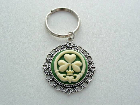 Claddagh Keychain, Scottish Heritage Claddagh, Claddagh Cameo, Shamrock Cameo Keychain, Jewelry Love Loyalty Friendship Irish Keychain, Irish Keychain