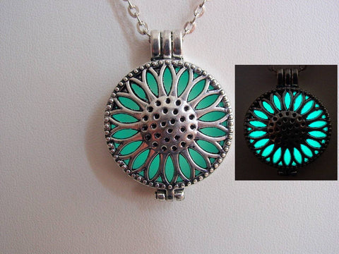 Glow In The Dark Frozen Blue Ice Sunflower Necklace ~ Locket Bright Aqua Glow