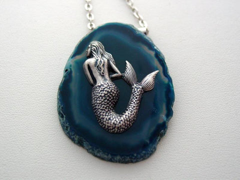 Mermaid Agate Geode Necklace Natural Blue Teal Agate Geode Mermaid Polished Pendant