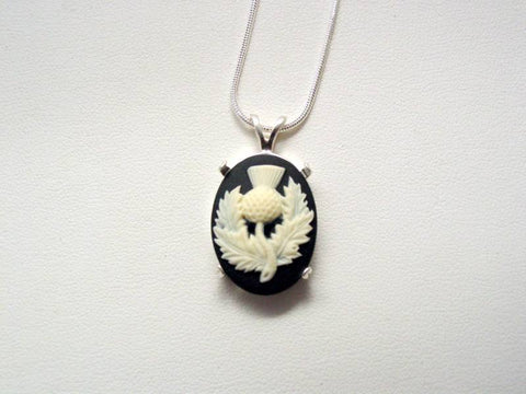 Sterling Silver Cameo Thistle Necklace Snake Chain Scottish Heritage Scotland's National Flower Necklace