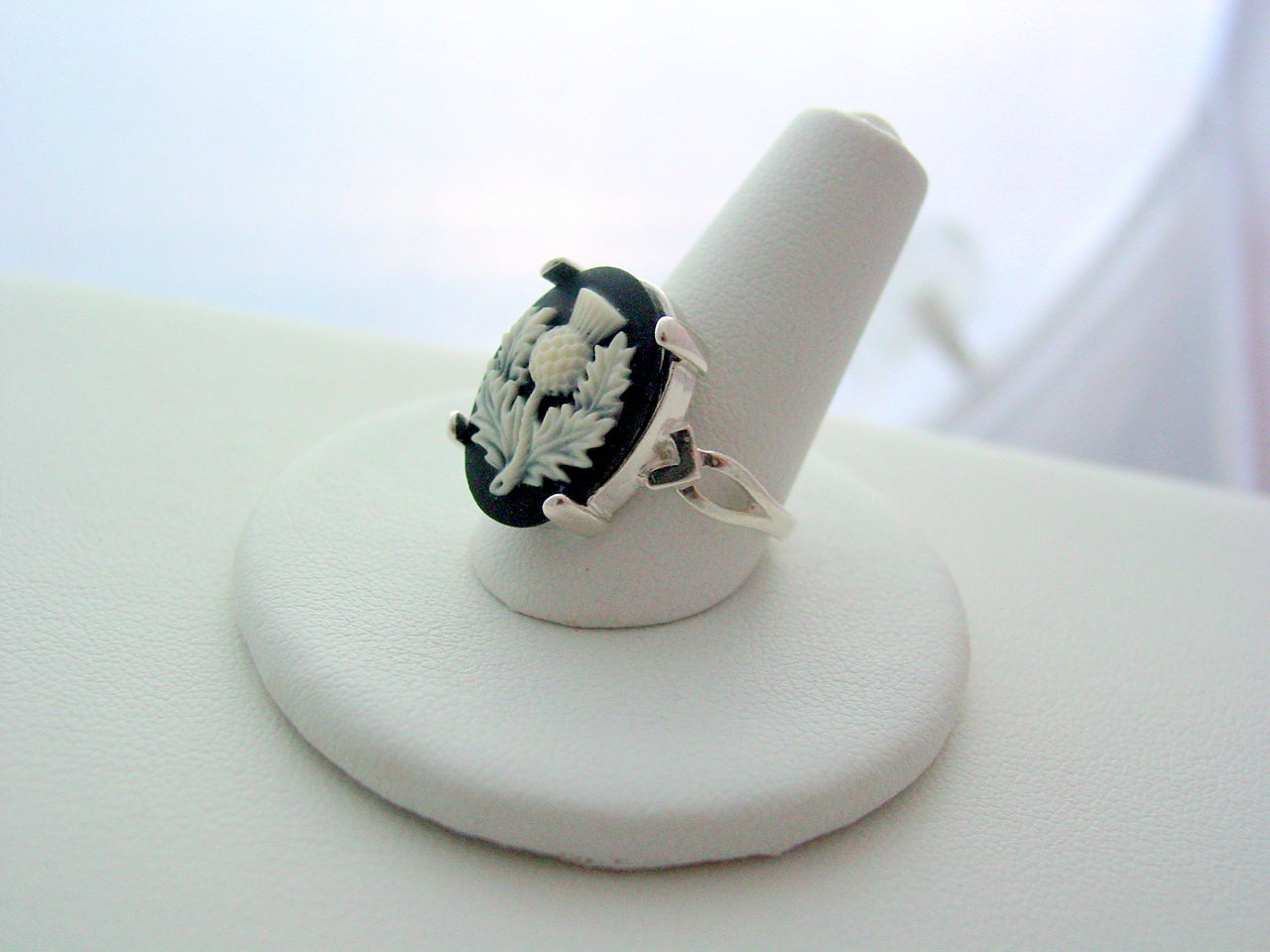 Outlander Sterling Silver Thistle Ring Scotland's National Flower Outlander Thistle Sterling Silver Cameo Ring