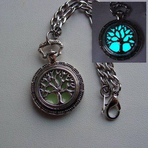 Glow In The Dark Heavy Chain Duty Family Tree Of Life Charm Bracelet ~ Glowing Charm Bracelet Bright Aqua Glow